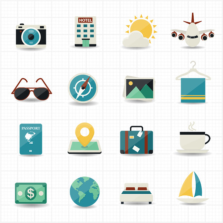 Travel icons and hotel icons with white background  Illustration