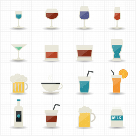 whie wine: Drink and cocktail icons  Illustration
