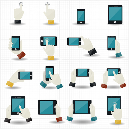 touching hands: Hand touch screen icons  Illustration