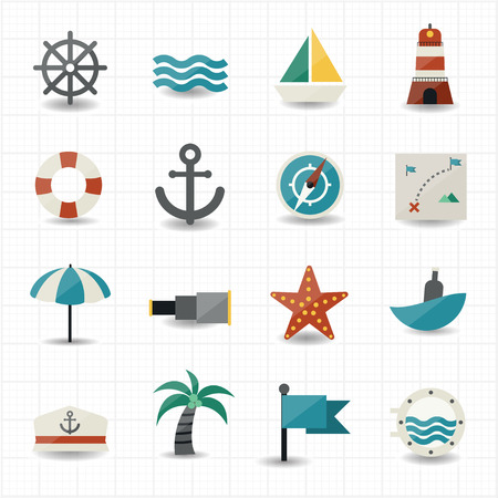 captain boat: Nautical and sea icons  Illustration