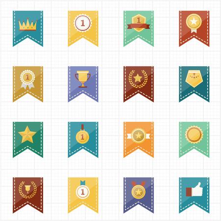 champ: Badge Seal and Ribbon icons  Illustration