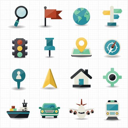 Plattegrond en locatie navigator iconen Stockfoto - 27898775