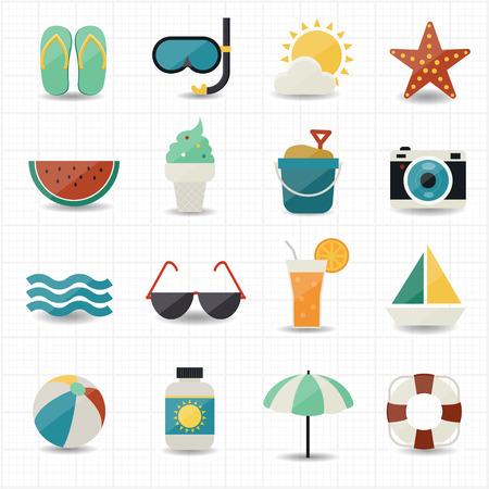 Zomer en strand iconen