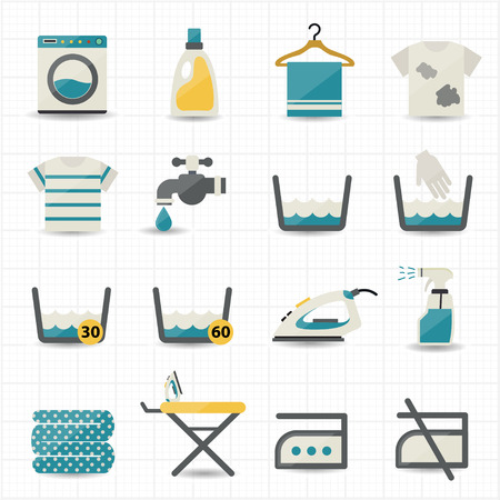 laundry machine: Laundry and Washing Icons  Illustration