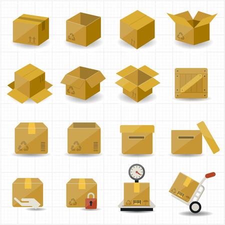 cajas de carton: Box y Icon Paquete Vectores