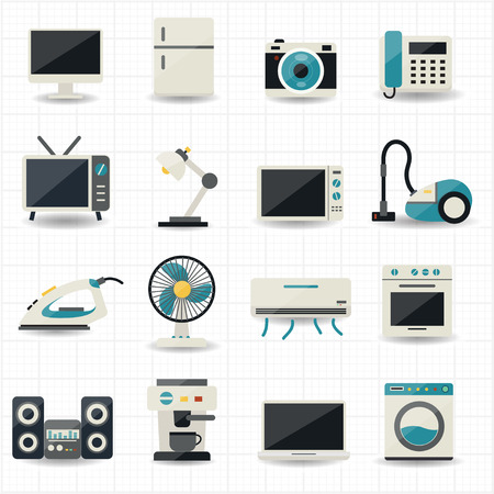 Household Appliances and Electronic Devices Icons   イラスト・ベクター素材