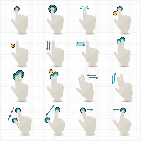 제스처: 몸짓과 손 아이콘을 터치