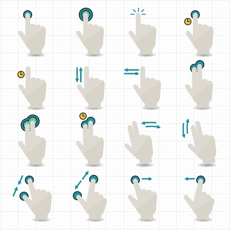 Touch Gestures and Hand Icons  Vector