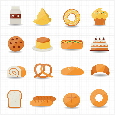 french bread rolls: Bakery and Bread Icon  Illustration