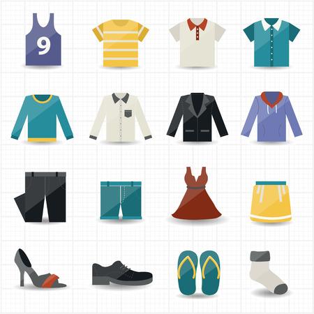 fashion clothing: Clothing Icons Illustration
