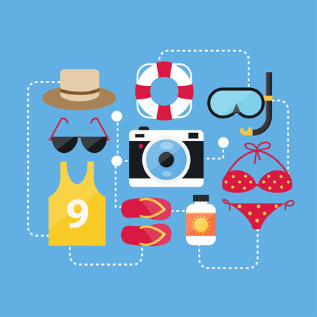 Flat Design Concept Summer Accessories and Summer Icons Vectors Vector