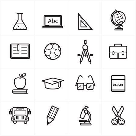 Flat Line Icons For Education Icons and School Icons  Vector