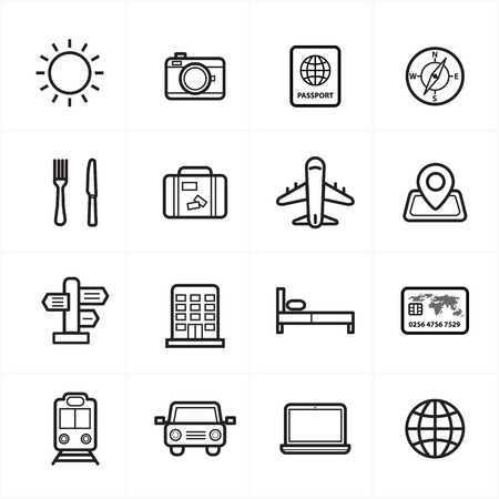 for rent: Flat Line Icons For Travel Icons and Transport Icons