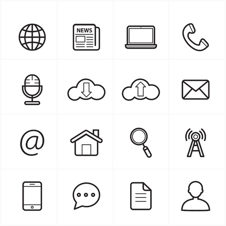 internet symbol: Flat Line Icons For Web Icons and Internet Icons
