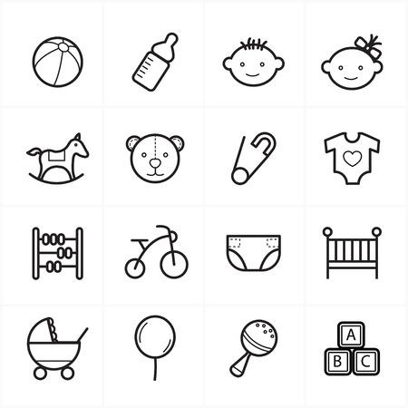 juguete: Iconos l�nea plana para los iconos de beb� y juguetes Iconos