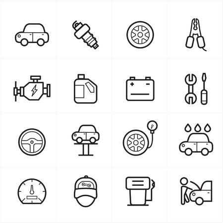 disk break: Flat Line Icons For Car Service Icons