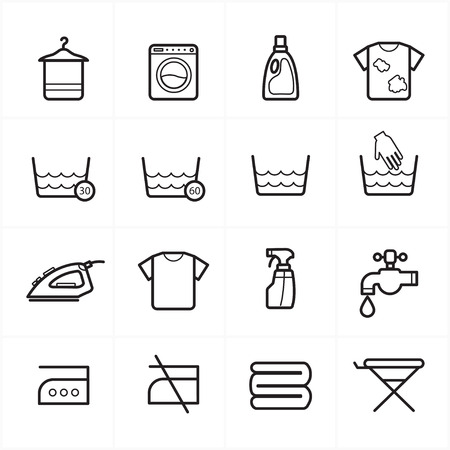 Flat Line Icons For Laundry and Washing Icons