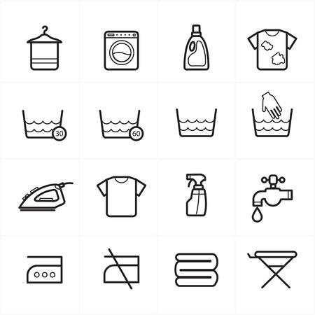 laundry line: Iconos l�nea plana para lavar la ropa y los iconos de lavado
