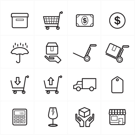 simple store: Flat Line Icons For Business Icons and Ecommerce Icons