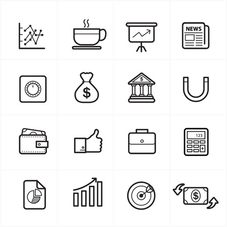 briefcase icon: Flat Line Icons For Business Icons and Finance Icons  Illustration
