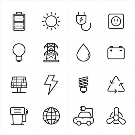 solar battery: Flat Line Icons For Environment Icons and Ecology Icons