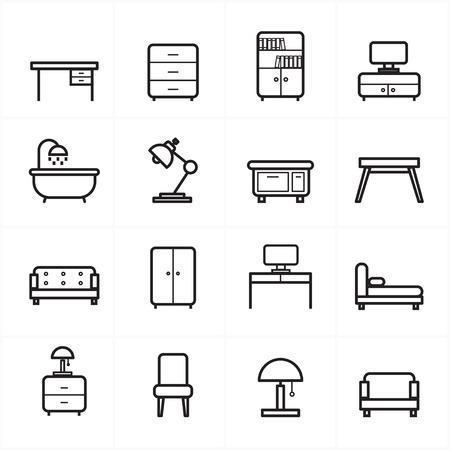 Flat Line Pictogrammen voor meubels Icons