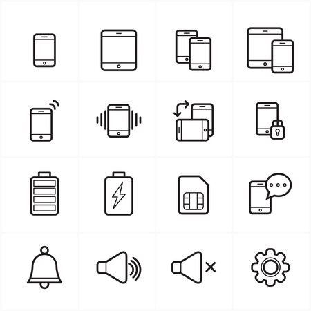 notification: Flat Line Icons For Mobile Icons and Notification Icons  Illustration