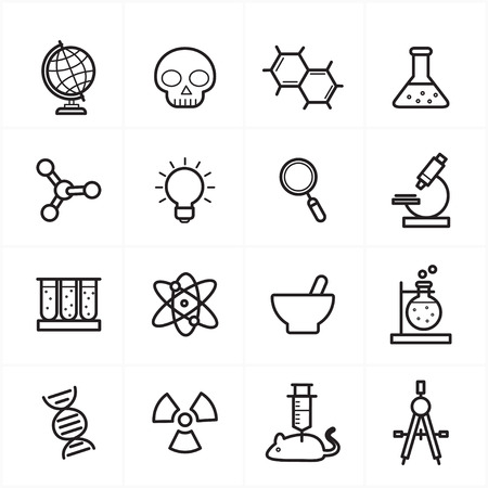 Flat Line Icons For Science Icons