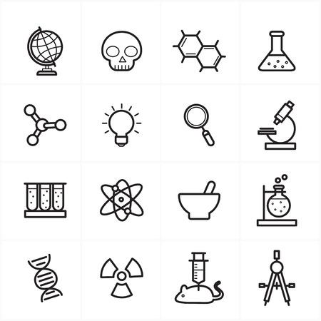 Flat Line pictogrammen voor wetenschap Icons
