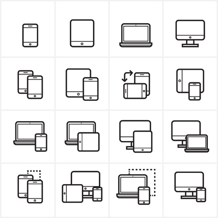 Flat Line Icons Device Icons and Responsive Web Design  Vettoriali