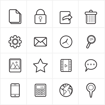 printing icon: Flat Line Icons Mobile Icons and Internet Web Icons Illustration