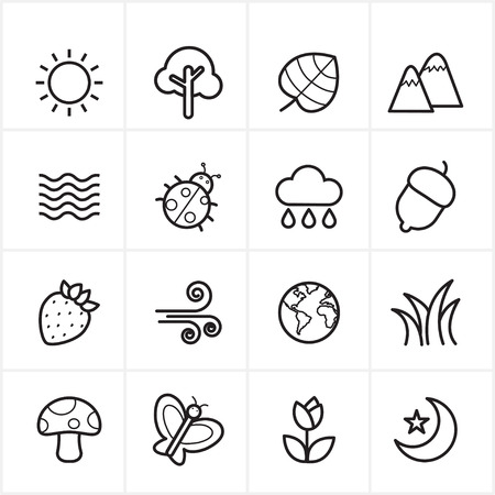 Flat Line Icons Nature and Tree Icons Illustration