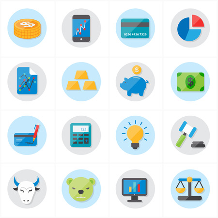 credit card icon: Flat Icons For Finance Icons and Business Icons Vector Illustration