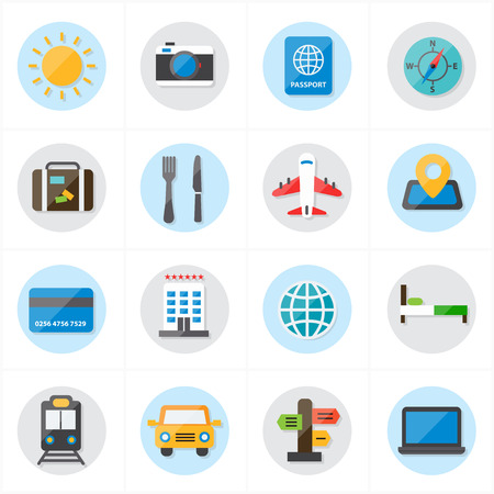 2d map: Flat Icons For Travel Icons and Transport Icons Vector Illustration Illustration