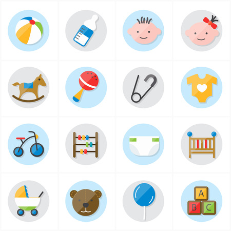 Flat Icons For Baby Icons and Toys Icons Vector Illustration
