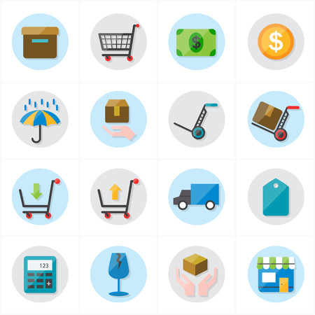 car bills: Flat Icons For Business Icons and Ecommerce Icons Vector Illustration