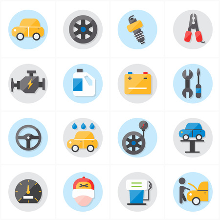 flat tire: Flat Icons For Car Service Icons Vector Illustration
