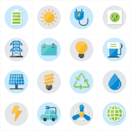 energy conservation: Flat Icons For Environment Icons and Ecology Icons Vector Illustration Illustration