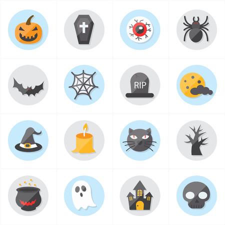 Flat Iconen Voor Halloween Icons Vector Illustration