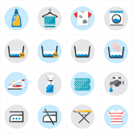 steam bath: Flat Icons For Laundry and Washing Icons Vector Illustration