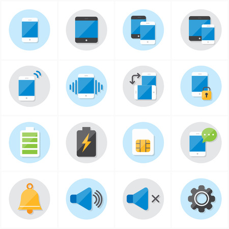 notification: Flat Icons For Mobile Icons and Notification Icons Vector Illustration