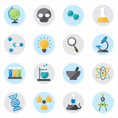 toxicology: Flat Icons For Science Icons Vector Illustration Illustration