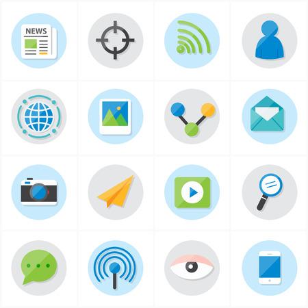 Piso iconos de la comunicación y la ilustración de los iconos del Web del vector Foto de archivo - 43668575