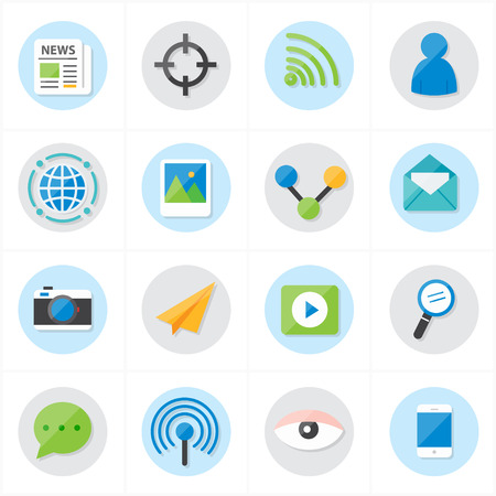 Flat Icons Communication and Web Icons Vector Illustration