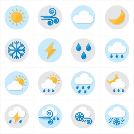 estado del tiempo: Ilustración plana iconos del tiempo vector de los iconos Vectores