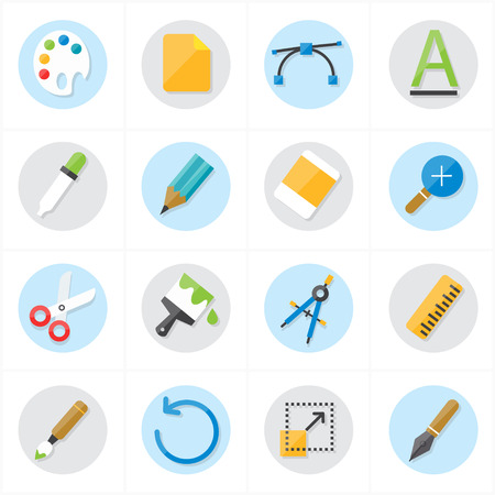 pen icon: Flat Icons Graphic Design and Creativity Icons Vector Illustration Illustration