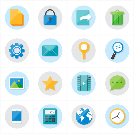 mobile icons: Flat Icons Mobile Icons and Internet Web Icons Vector Illustration