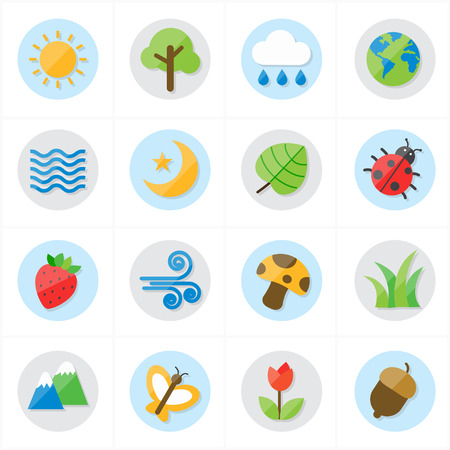 formal garden: Flat Icons Nature and Tree Icons Vector Illustration Illustration