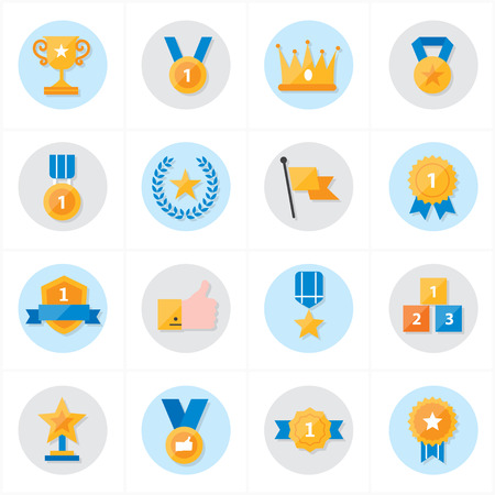 Flat Icons Trophy and Prize Icons Vector Illustration Ilustrace