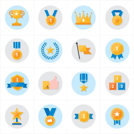 Vlakke pictogrammen Trophy en Prize Icons Vector Illustration